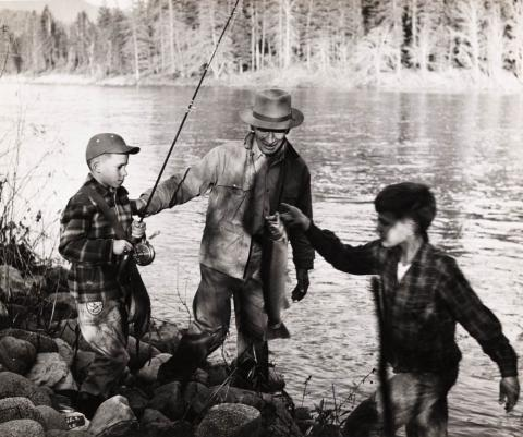 Dickie Simpson, Fred Wilder and LeRoy Wilder fishing on the Klamath River near Happy Camp, around 1955
